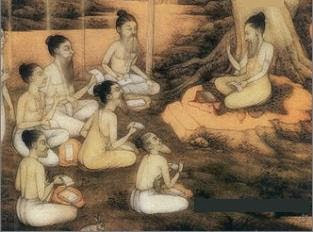 Gurus promulgating puranas as a source of divine knowledge to civilisations as part of itihasa.