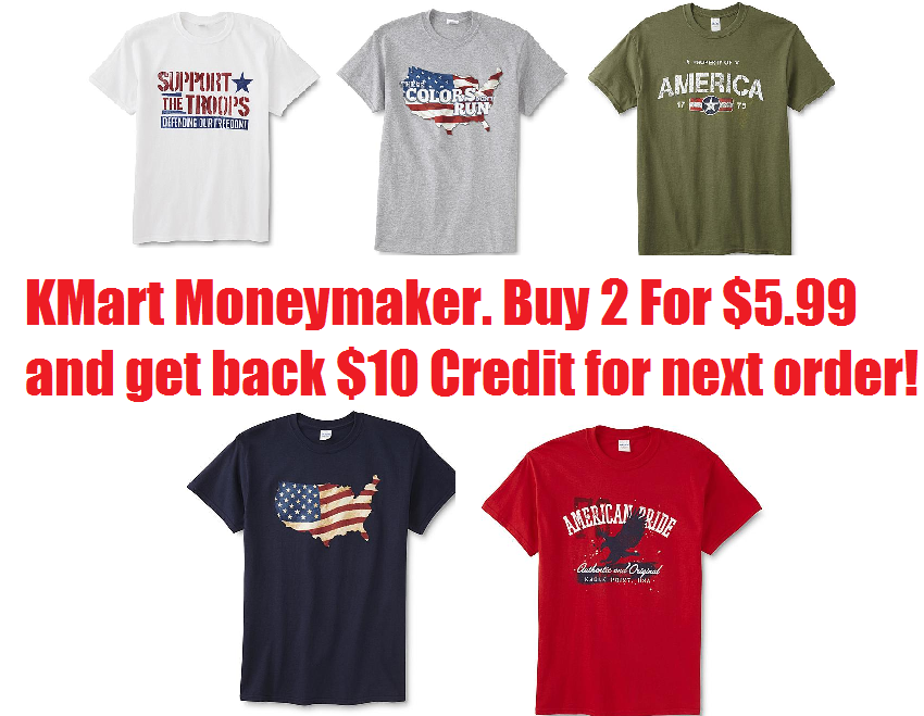 71d48ea054f KMart Rolling Points Moneymaker! Two Men's Patriotic T-Shirts $5.99 ...