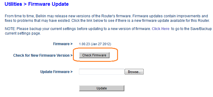 Belkin f9j1102v1 screenshot firmware update.