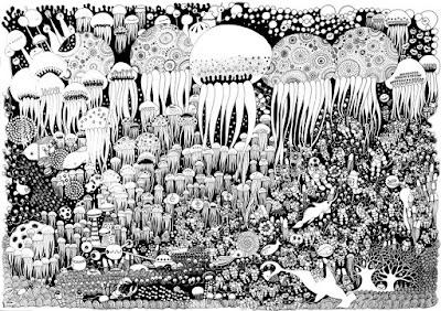 Dibujo o  ilustración blanco y negro con mucho detalle