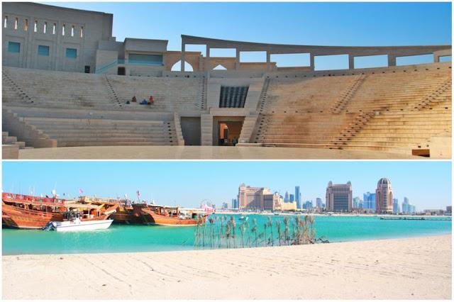 Anfiteatro y playa en Katara en Doha, Qatar