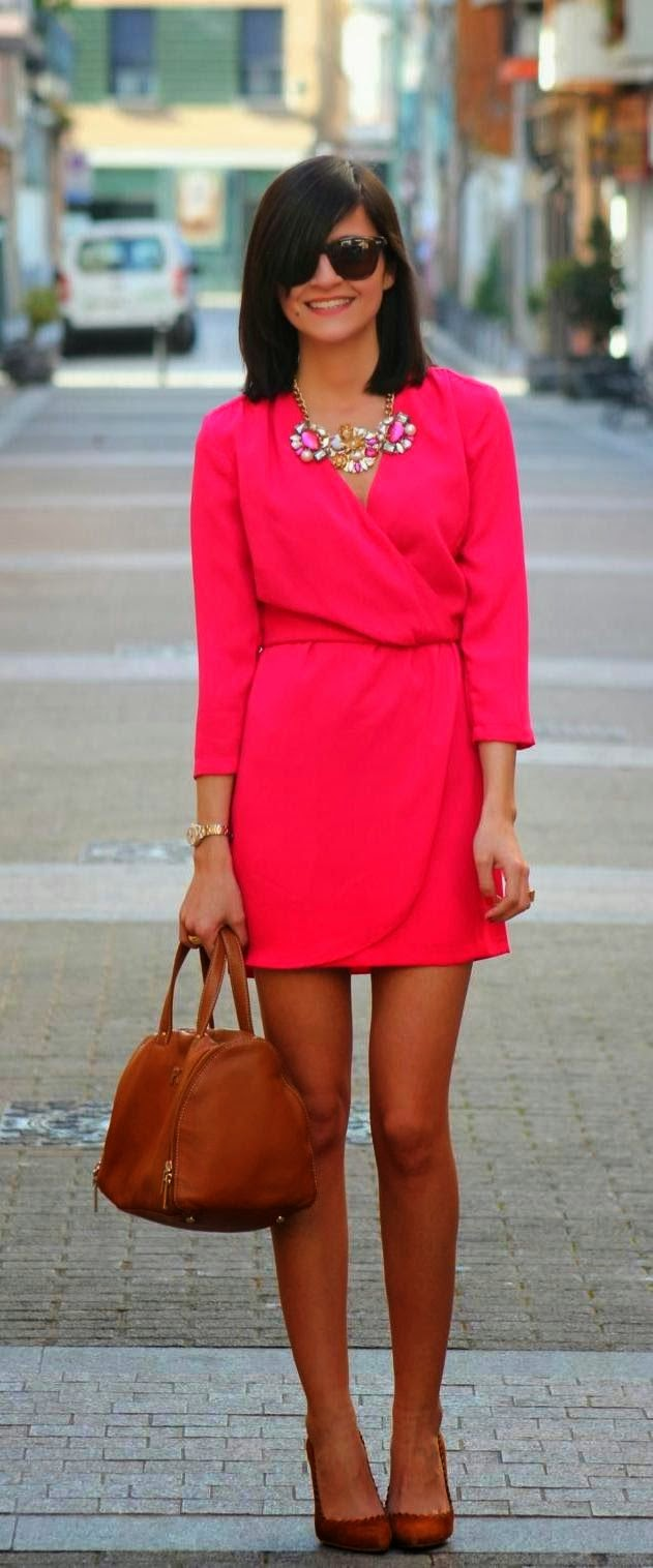 Stylish necklace and pink wrap mini dress fashion