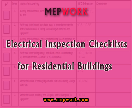 Electrical Inspection Checklists for Residential Buildings