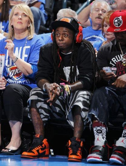 979227f1e530 Lil Wayne   Mack Maine Rockin Nike Dunk High s + Air Jordan Son Of Mars  Sneakers