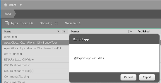 Export QlikSense with no Data