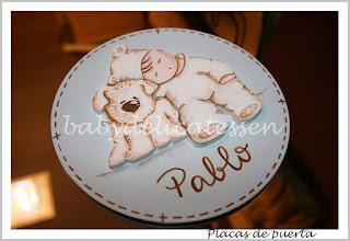 placa de puerta infantil bebé con perrito nombre Pablo babydelicatessen