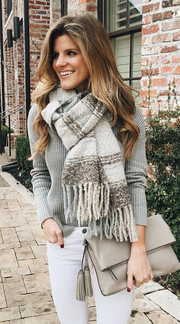 grey palettes | plaid scarf + sweater + skinnies + bag
