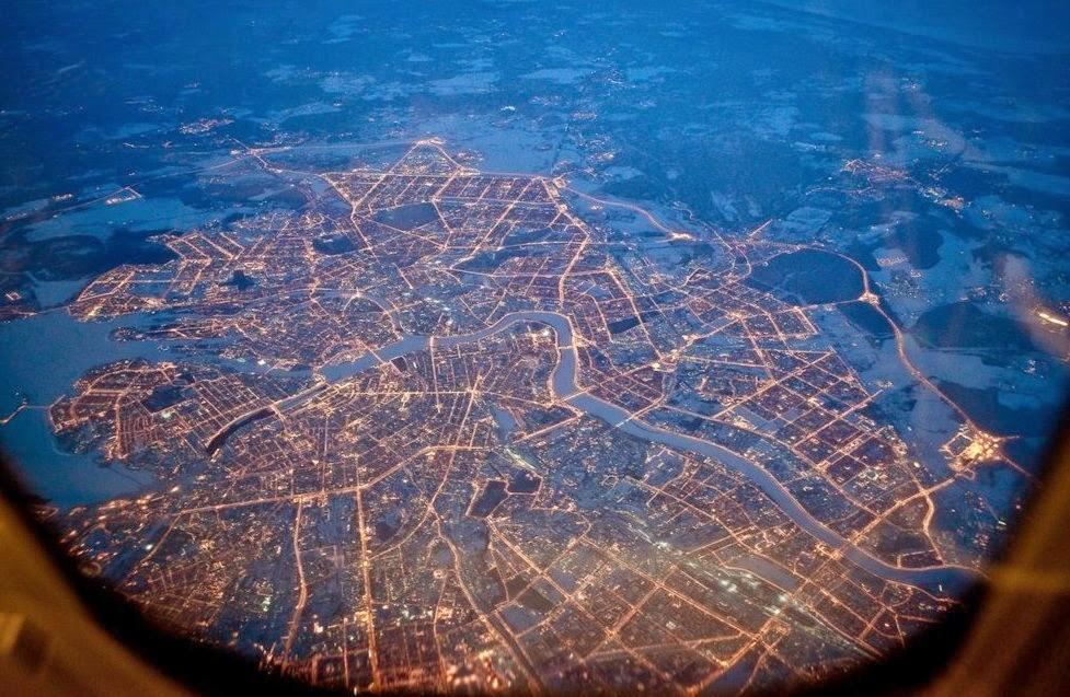 Санкт-Петербург вид сверху на огни города