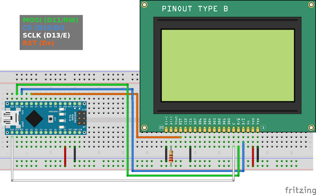 Connect ST7920 LCD to Arduino Nano SPI pins