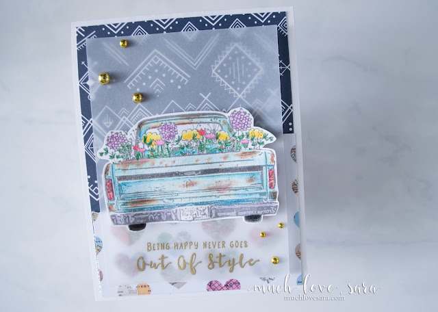 This fun card can be used as an easy birthday card, or simply a pick-me-up card for any occasion.  Created with the Happy Adventure Stamp Set from Fun Stampers Journey, and Color Burst Pencils.