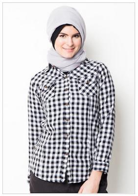Desain Kemeja Lengan Panjang Muslimah Modern
