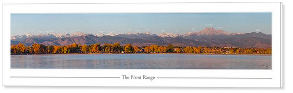 The northern front range from Longmont with labels and names to identify each of the peaks and their elevations above sea level