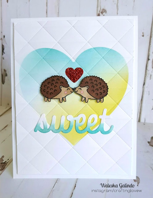 Sunny Studio Stamps: Woodsy Creatures Sweet Hedgehogs Heart Card by Waleska Galindo