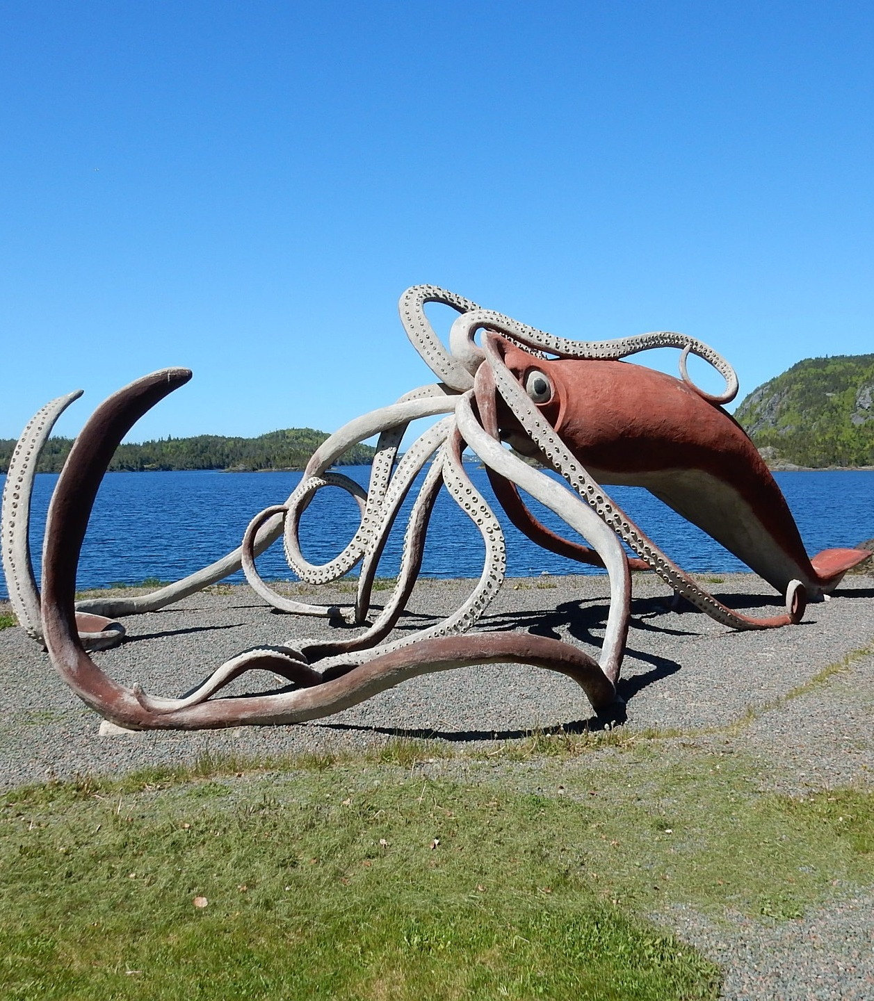 A giant squid sculpture.