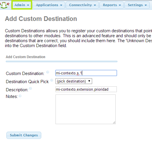 FreePBX: Custom destination
