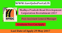 Madhya Pradesh Road Development Corporation Recruitment 2017– Manager, Assistant General Manager