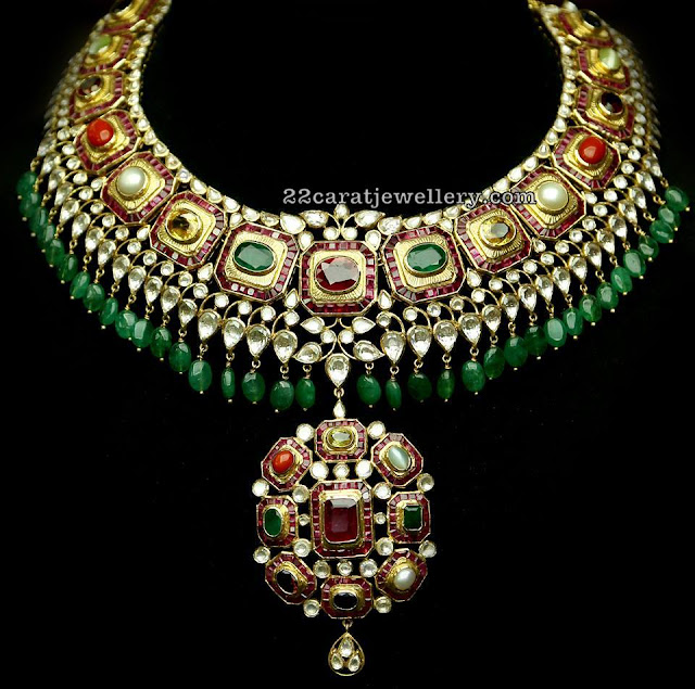 Navaratan Stone Kundan Necklace