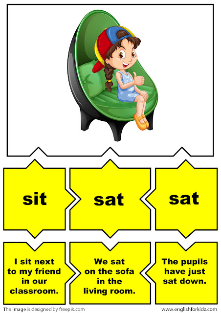 irregular verbs puzzle flashcards, verb sit
