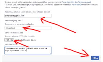 cara mengisi formulir ajukan banding agar akun facebook dapat dipulihkan kembali