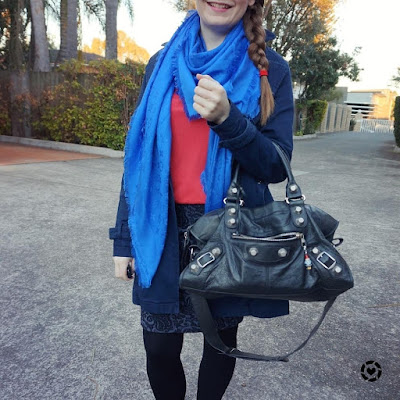 awayfromtheblue instagram navy and red tee and pencil skirt winter office outfit with Balenciaga part time bag