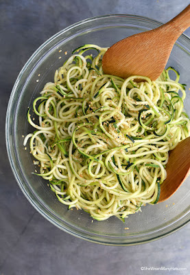 Sesame Zoodles from She Wears Many Hats featured for Low-Carb Recipe Love on Fridays (8-12-16) found on KalynsKitchen.com