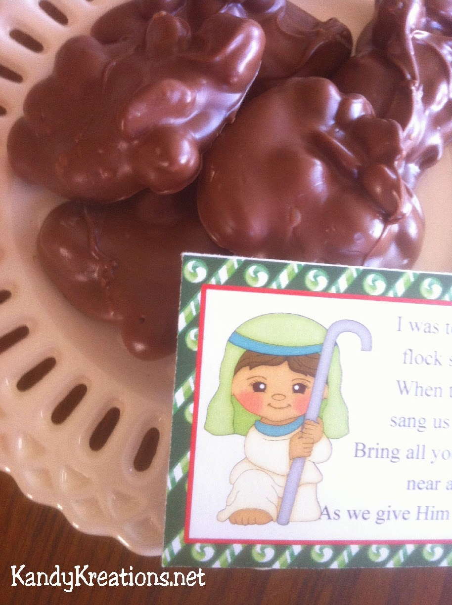 Make your own Christmas candy with these Chocolate Peanut clusters.  Give as a sweet gift or a gift from the Shepherd with our Nativity Advent Gift idea.