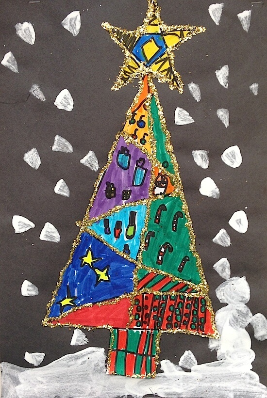 glittery christmas tree art