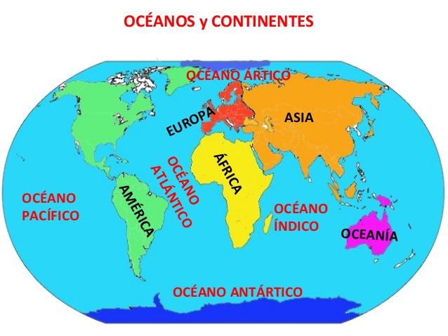 Cuales Son Los 6 Continentes Del Planisferio: Tercer Curso De Primaria: OS OCÉANOS E OS CONTINENTES
