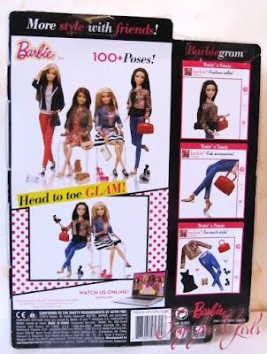 Вид коробки с куклой Барби Ракель сзади (Barbie Style Raquelle Leopard Jacket)