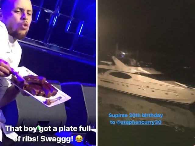 Dirty 30! Stephen Curry parties on a yacht, sings karaoke and dances to E-40 for bday celebration