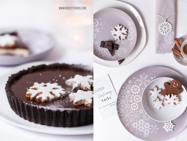 Lebkuchen Zimt Tarte und Räder Wintertafel Geschirr