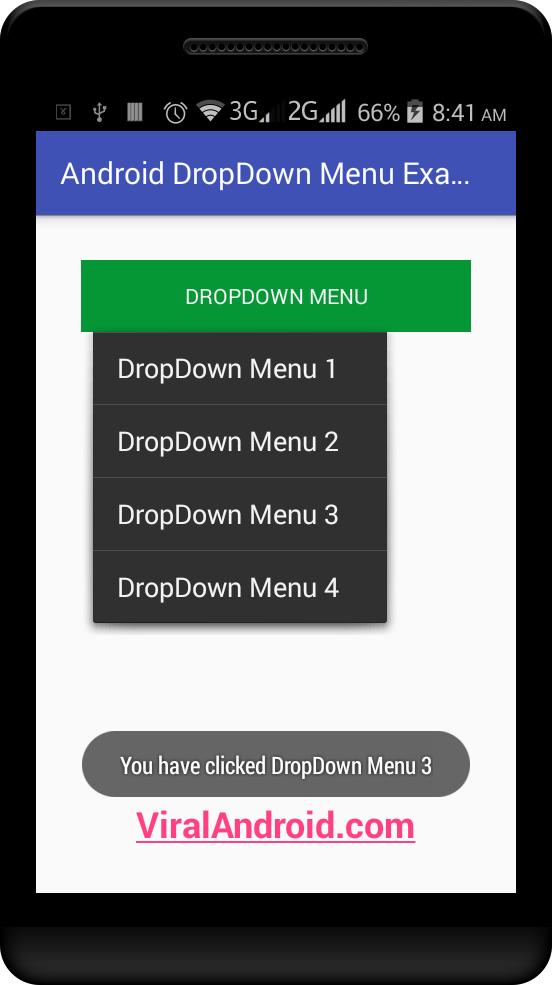 Android Dropdown Menu Example | Viral Android – Tutorials, Examples
