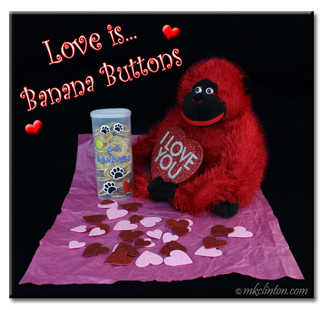 Red toy stuffed monkey with Valentine hearts and container full of banana chips. Text reads Love is Banana Buttons