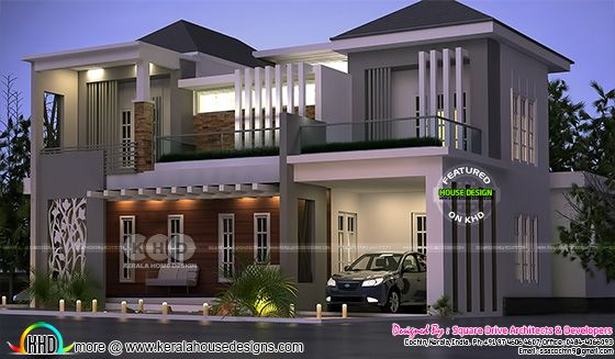 decorative style contemporary house rendering in night view