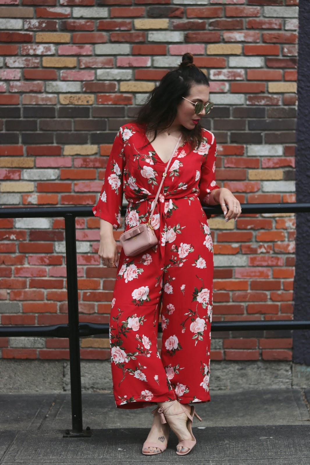 floral jumpsuit dynamite red outfit mini prada bag vancouver blogge