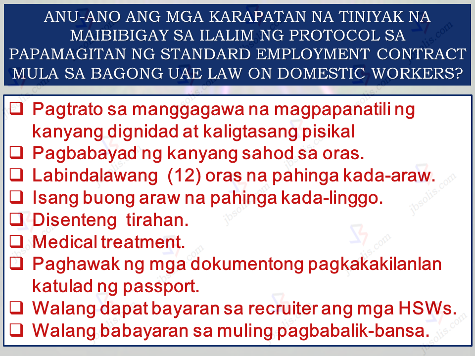 "Aside from Hong Kong, Saudi Arabia, Kuwait and other countries, United Arab Emirates is one of the destinations for Filipino household service workers. Unfortunately, this sector is often vulnerable to abuse and maltreatment. Cases of  abuse are rampant in the Middle Eastern countries including UAE. Household workers with no day-offs, salary not being given on time, indequate food and shelter, physical abuse and others.   There are approximately 100,000 household service workers in UAE and they needed protection.   The UAE and the Philippines has signed a memorandum of  understanding on mutual cooperation in the recruitment and employment of domestic workers in the UAE.The memorandum was signed in Abu Dhabi on Tuesday by Saqr Ghobash, the Minister of Human Resources and Emiratisation for the UAE, and Labor Secretary Silvestre Bello III.   Sponsored Links The signing was witnessed by DOLE, OWWA, and Philippine Embassy Officials. According to UAE Human Resource Minister Saqr Ghobash, ""The MoU is a result of many consultations held between the two countries, which began when the UAE Cabinet tasked the Ministry of Human Resources and Emiratisation with overseeing the domestic workers sector in the country.""    What is the significance of this MOU to the OFW household workers? How can the HSWs benefit from this  so-called enhanced relationship between the two countries?   The MOU, aside from strengthening of ties between the two countries, will also, first and foremost, benefit the HSWs deployed in UAE by giving them protection against contract switching, non-payment of wages, prevention of human trafficking among others.                       Advertisement Read More:        ©2017 THOUGHTSKOTO"