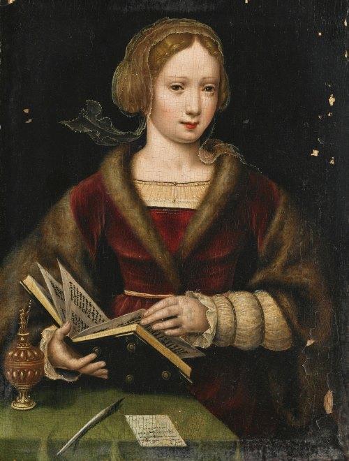 Антверпенская школа (Antwerp School), 1530-1540 Дама с книгой, возможно,Мария Магдалина