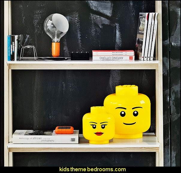 LEGO Storage Head  construction theme bedrooms - Lego bedroom furniture - construction trucks theme bedroom  -  Lego theme bedroom decorating - boys bedrooms construction themed LEGO furniture  - under construction building site - construction themed  bedroom decor - Lego bedroom decor ideas - primary color bedroom ideas - Tool belt theme