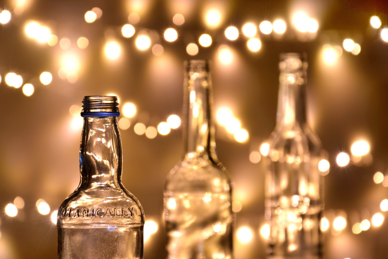 Empty Bottles in front of bokeh