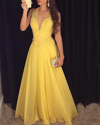 vestido amarillo para fiesta de graduación elegante