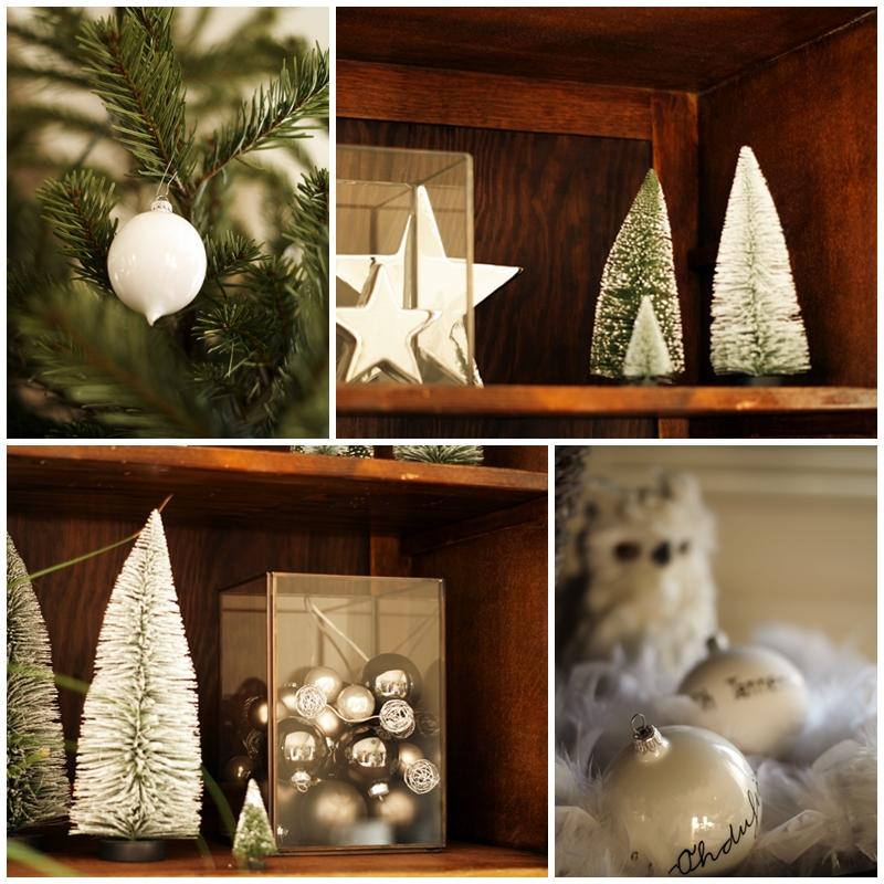 Blog + Fotografie by it's me! - Rooming, Weihnachtsdeko 2015 - Collage Schneeeule, Weihnachtsbäume und Kugeln