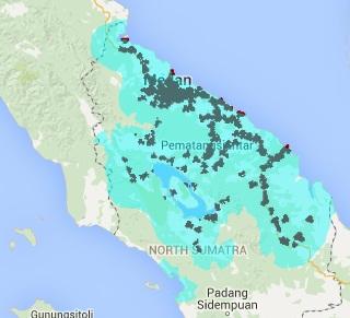 Jangkauan Sinyal Smartfren 4G LTE dan EVDO REV B Sumatera Utara