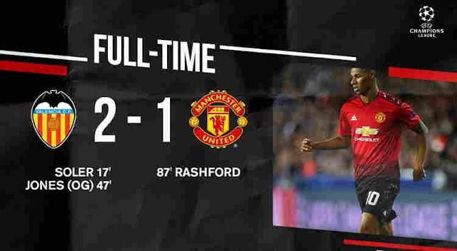 Hasil Valencia vs Manchester United Skor Akhir 2-1