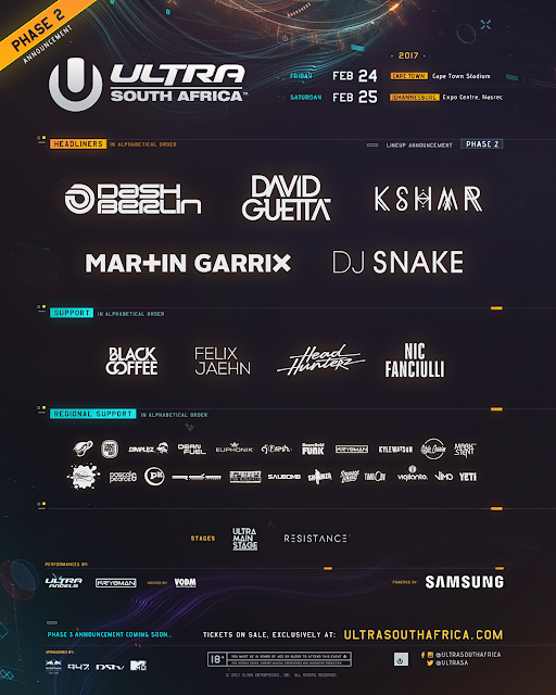 ultra south africa 2017 phase 2 line up