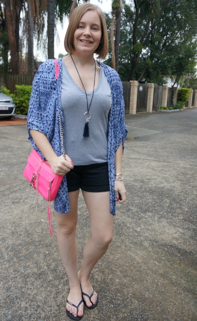 colourful accessories on monochrome grey tee black shorts outfit neon bag navy kimono | away from blue
