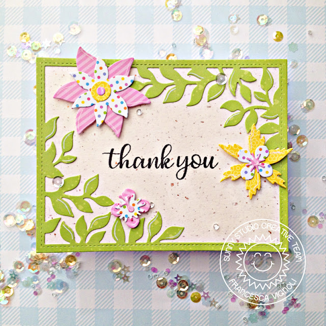 Sunny Studio Stamps: Botanical Backdrop Die Floral Everyday Greetings Thank You Card by Franci Vignoli