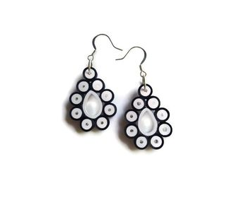 Long Black and white color Tear Drop Earrings for Kids - Quillingpaperdesigns