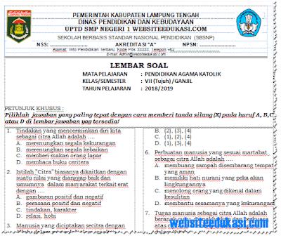 Soal PAS/ UAS PAK (Katolik) Kelas 7 K13 Tahun 2018/2019