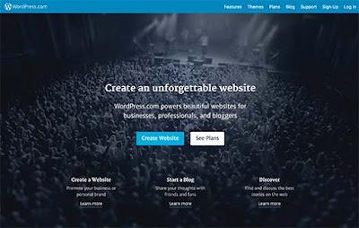 halaman awal depan Platfrom Wordpress.com