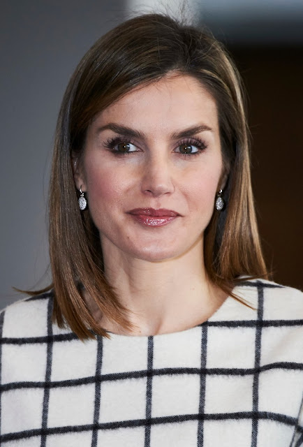 Queen Letizia of Spain attended the Red Cross World Day in Albacete. Queen Letizia wore Designer Remix top, Hugo Boss Trouser, Magrit Pumps